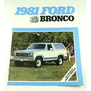 1981 81 Ford BRONCO Truck BROCHURE Ranger XLT Custom