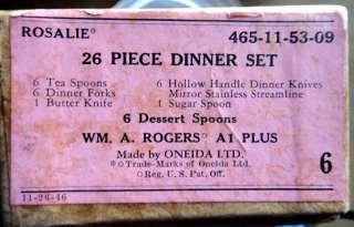 1938 vintage ROSALIE ROGERS SILVERPLATE 26pcs flatware w/BOX ONEIDA