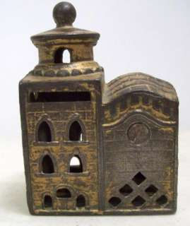 antique CAST IRON STILL PENNY BANK Building Castle ESTATE FIND