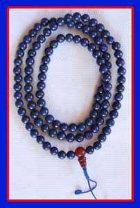 108 TIBETAN BUDDHIST LAPIS LAZULI MALA PRAYER BEADS NEPAL 7MM