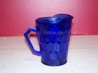 VINTAGE SHIRLEY TEMPLE COBALT BLUE GLASS PITCHER