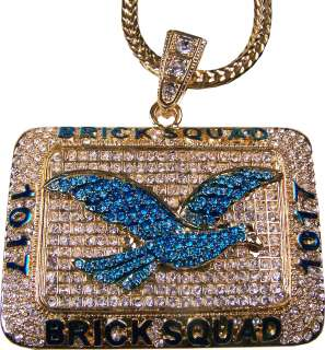 Black Gold Brick Squad Bird Rhinestones Necklace Chain