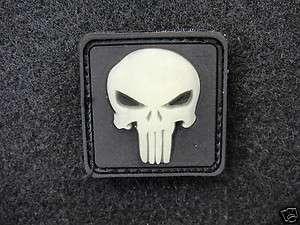 Mini GITD Punisher Skull PVC velcro patch GLOWS IN THE DARK Black