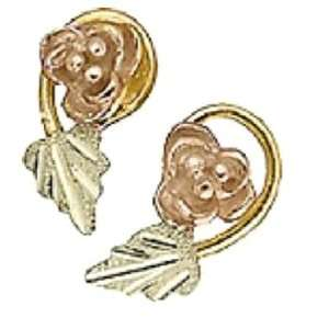 Black Hills Gold Womens Earrings. 10K Gold Rose with 12K Black