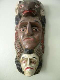 Tribal Wood MASK Ethnic Primitive 3 Carved FACES Hanging Wall Art