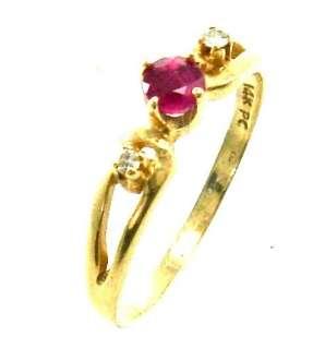 Diamond Ruby 14K Yellow Gold Estate Childs Jewelry Ring 3 1/2 UK G