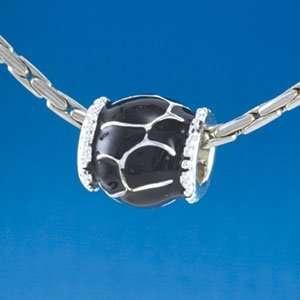 B1555 tlf   Black Giraffe Animal Print   Silver Plated Large Hole Bead
