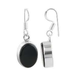 Sterling Silver Oval Black Onyx Polish Finished Fish Hook Findings