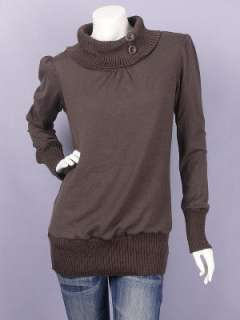 Brown Ribbed Cowl Neckline Long Sleeve Sweater Top M
