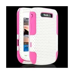 Case for Blackberry Torch 9800 White/Pink Cell Phones & Accessories