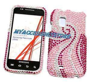 Samsung Galaxy S1 Mesmerize i500 Pink Rhinestones Crystal Bling Phone