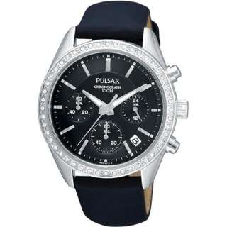 PULSAR WOMEN BLACK LEATHER STRAP&DIAL CHRONOGRAPH CRYSTAL WATCH