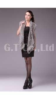 0334 Rabbit Fur Nature and Elegant women Vest waistcoat gilet