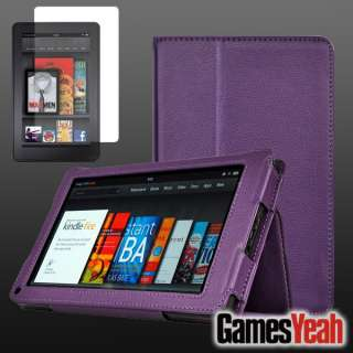 Purple F Kindle Fire PU leather Case Cover/Car Charger/USB Cable