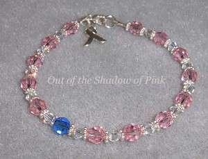 Breast Cancer Awareness Swarovski Bracelet .925 SS
