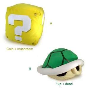 Nintendo Super Mario Bros Sound Plush Figure Set of 2   Question Block