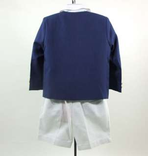Boys Blue White Suit Jacket Shirt Bow Tie Shorts Formal 4pc imp