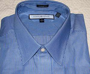 TOMMY HILFIGER ITHACA MED BLUE & WHITE STRIPE DRESS SHIRT 16 34/5 $59