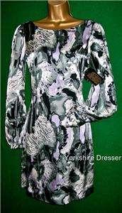 New BIBA Grey Silk Bell Sleeve Shift Dress   8 10 12 14