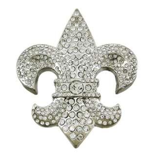 Crystal Rhinestone Encrusted Fleur de Lis Belt Buckle