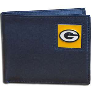 NFL Football Green Bay Packers Top Grain Leather Bifold Wallet
