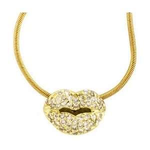 18K Yellow Gold Diamond Lips Pendant Necklace: Jewelry