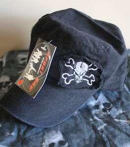 New BLACK SKULL Skulls BIKER GANG Style BUTTON Hat Cap