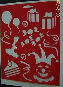 STENCILS ~,BIRTHDAY PARTY, CLOWN,BALLOONS,GIFTS