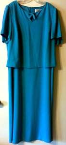 Teal Blue Floor Length Special Occasion Mother of the Bride Dress