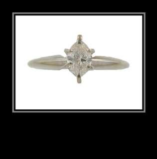 14K White Gold Marquise Diamond Engagement Ring   1/4 Carat TDW