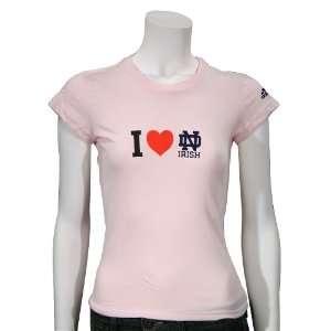 Dame Fighting Irish Pink Girls Team Love T shirt
