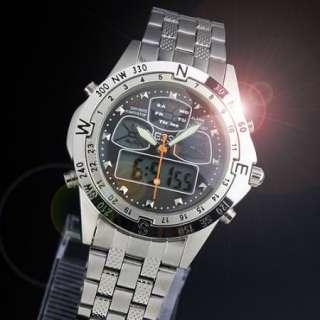 New classic men black analog digital wrist quartz watch