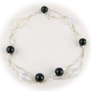 Black Onyx, Opalite Beads Sterling Silver Box Chain Necklace n1320