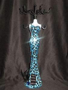 14 1/2 TURQUOISE & BLACK Elegant Sequin/Feathers Dress Jewelry