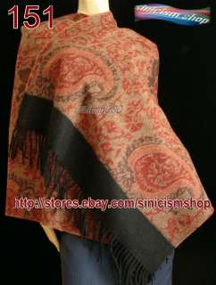 Womens Jacquard 100%4 ply Cashmere Shawl Wrap red black