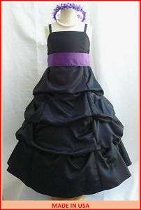 NEW BLACK PURPLE FLOWER GIRL PARTY RECITAL DAVIDS DRESS