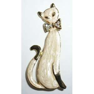 Cream Enamel Cat with Crystal Bow Tie Pin Jewelry
