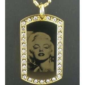Marilyn Monroe CZ Gold Tone Dog Tag Pendant Necklace