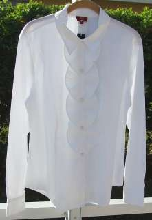 TALBOTS WOMAN WHITE RUFFLE LONG SLEEVE TOP SHIRT 14 NEW