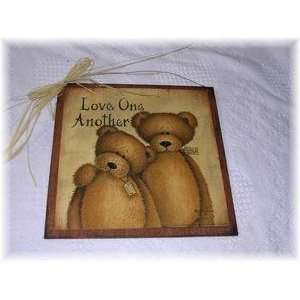 Love One Another Teddy Bear Country Wall Art Sign Valentines Day Gifts