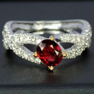 14k White Gold Natural Top Blood Red Spinel Diamond Ladies Engagement