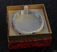 Macys Holiday Lane Christmas Bracelet Blue White Poinsettia Enamel New