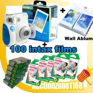 Instant Instax Mini 7S Polaroid Camera Blue Color + 100 Films + Ablum