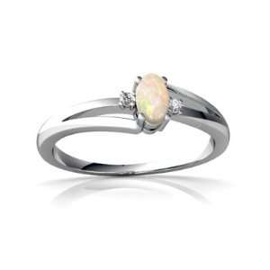 14K White Gold Oval Genuine Opal Ring Size 5 Jewelry