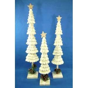 Set of 3 Pine Cone Tabletop Trees, Tallest 22 inches, by Grasslands