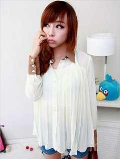 Korean Womens Fashion Chiffon Long Sleeve Pleated Loose Tops Top Shirt