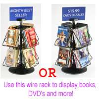 New 2 Tier 8 Open Shelf Pocket Black Countertop DVD Book Literature