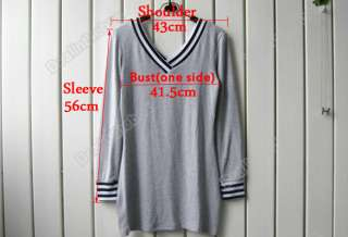 Lady Casual Long Sleeve V Neck Cotton T Shirt Mini Dress 3 Size