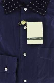 New $425 Borrelli Navy Blue Shirt 15.5/39   ** SALE **