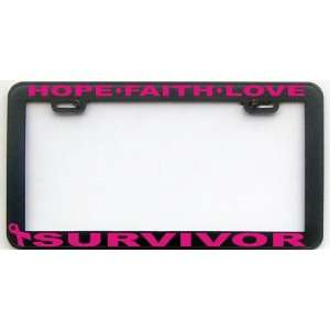 BREAST CANCER SURVIVOR BK PK LICENSE PLATE FRAME